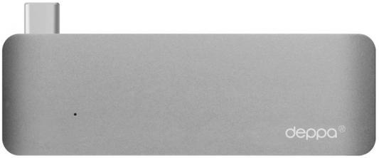 Переходник USB Type-C - USB Deppa 5в1 графит 72217 50pcs micro usb 3 0 male to usb c usb 3 1 type c female extension data cable for macbook tablet 10cm by fedex