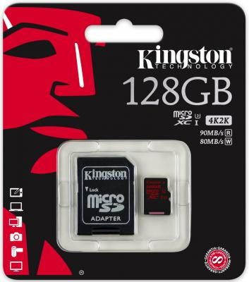 Карта памяти Micro SDXC 128GB Class 10 Kingston SDCA3/128GB + SD адаптер micro securedigital 128gb kingston sdxc class 10 sdc10g2 128gbsp