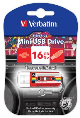 Флешка USB 16Gb Verbatim Mini Cassette Edition 49398 USB красный флешка usb 16gb verbatim mini neon edition 49394 usb оранжевый