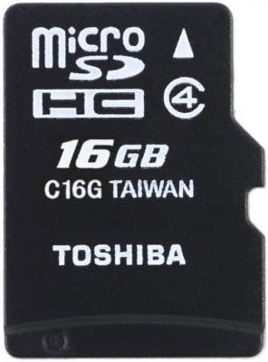 Карта памяти Micro SDHC 16Gb Class 4 Toshiba THN-M102K0160M2/M4 + адаптер