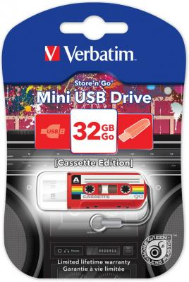 Флешка USB 32Gb Verbatim Mini Cassette Edition 49392 USB красный ezcap ezcap230 usb cassette tape to mp3 converter white