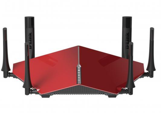 Беспроводной маршрутизатор D-Link DIR-890L/R/A1A 802.11aс 3200Mbps 5 ГГц 2.4 ГГц 4xLAN USB USB3.0 красный wi fi роутер d link dir 890l dir 890l rur a1a