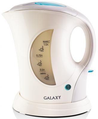 Чайник GALAXY GL0105 900 Вт белый 1 л пластик чайник galaxy gl0301 2000 вт 1 5 л пластик белый рисунок