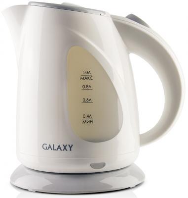 Чайник GALAXY GL0213 900 Вт серый белый 1 л пластик чайник galaxy gl0301 2000 вт 1 5 л пластик белый рисунок