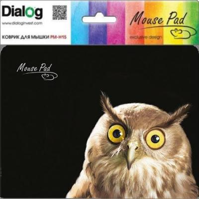 Коврик для мыши Dialog PM-H15 черный с рисунком сова