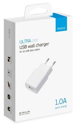 все цены на Сетевое зарядное устройство Deppa 11301 USB 1A белый