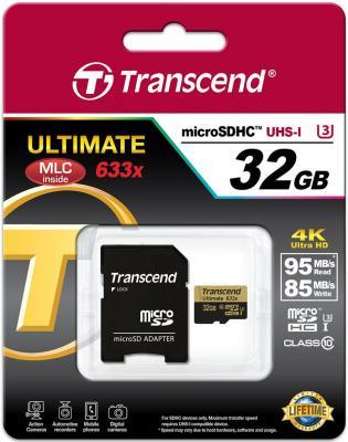 Карта памяти Micro SDHC 32Gb Class 10 Transcend TS32GUSDU3 633x transcend sdhc class 10 32gb карта памяти