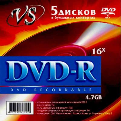 Диски DVD-R VS 16x 4.7Gb 5шт диски cd dvd sony dvd r 16x dvd dvd