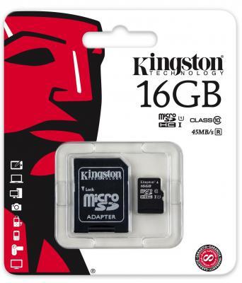 Карта памяти Micro SDHC 16GB Class 10 Kingston SDCAС/16GB + адаптер SD