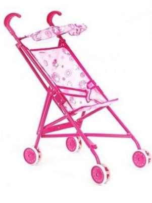 Купить Коляска-трость для кукол RT с козырьком металлическая 9302S розовый