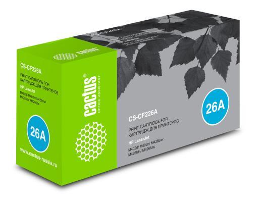 Картридж Cactus CS-CF226A для HP LJ M402d/M402n/M426dw/M426fdn/M426fdw черный 3100стр. cactus cs cf226a hp lj m402d m402n m426dw m426fdn m426fdw 3100