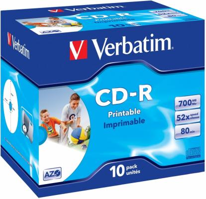 Диски CD-R 700Mb 52x Jewel 10шт Printable Verbatim 43325/4 диски cd r 700mb 52x jewel 10шт printable verbatim 43325 4