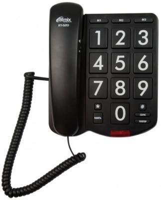где купить  Телефон Ritmix RT-520 черный  дешево