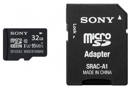 Карта памяти Micro SDHC 32Gb Class 10 Sony SR32UX2AT + адаптер SD