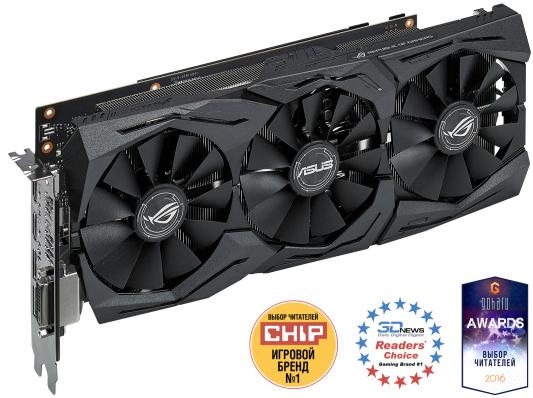 Видеокарта 8192Mb ASUS GeForce  PCI-E STRIX-GTX1080-8G-GAMING 256bit GDDR5X 1700 DVIx1/HDMIx1/DPx3/HDCP Ret