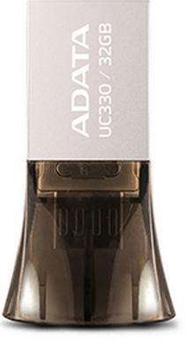 Флешка USB 32Gb A-Data DashDrive UC330 OTG AUC330-32G-RBK  черный флэш накопитель adata dashdrive uv128 32gb usb3 0 черно желтый