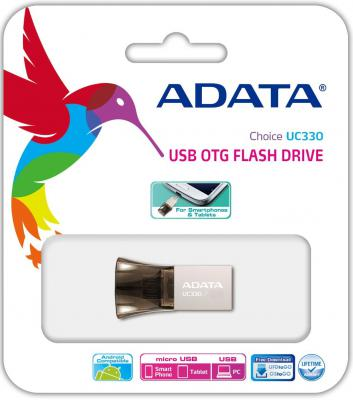 Флешка USB 16Gb A-Data USB2.0/MicroUSB OTG AUC330-16G-RBK черный [wholesale] orico cof3 15 usb3 0 a male to micro otg 15cm data cable for samsung note3 black white