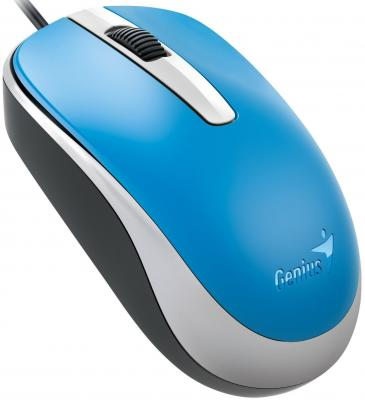 Мышь проводная Genius DX-120 голубой USB мышь проводная genius dx 135 black usb