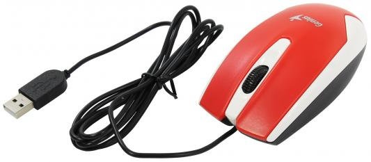 Мышь проводная Genius DX-100X белый красный USB мышь проводная genius dx 100x чёрный usb