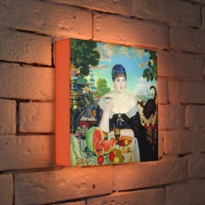 Лайтбокс Кустодиев Купчиха за чаем 25x25-127