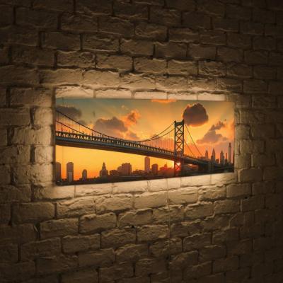 Лайтбокс панорамный Бруклинский мост на рассвете 45x135-p020