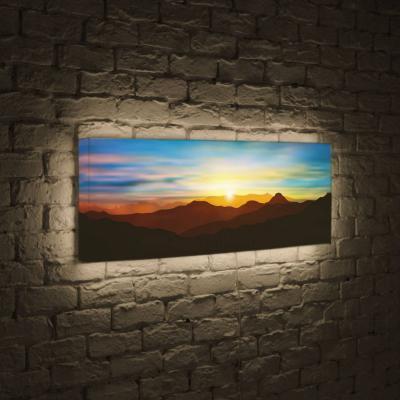 Лайтбокс панорамный Солнце над горами 35x105-p029