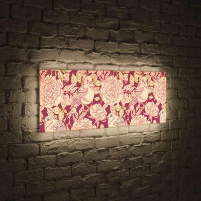 Лайтбокс панорамный Цветы и птицы 45x135-p019