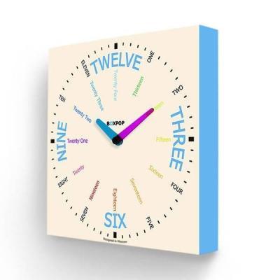купить Часы настенные FotonioBox BoxPop VII PB-507-35 белый голубой недорого