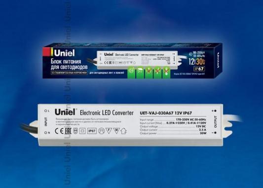 Блок питания для светодиодов Uniel (10587) 30W 2,5мА IP67 UET-VAJ-030A67 цена