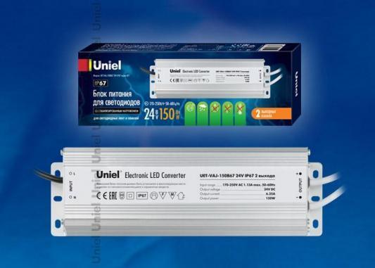 Фото - Блок питания для светодиодов Uniel (10590) 150W 6,25мА IP67 UET-VAJ-150B67 блок питания для светодиодов uniel 10589 100w 4ма ip67 uet vaj 100b67