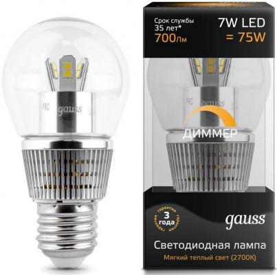 Лампа светодиодная шар Gauss Globe E27 7W 2700K HA105202107-D