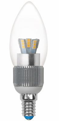 Лампа светодиодная свеча Uniel Cryslal Dimmable E14 5W 3000K LED-C37P-5W/WW/E14/CL/DIM