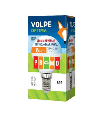 Лампа светодиодная шар Volpe 10701 E14 6W 3000K LED-G45-6W/NW/E14/FR/DIM/O лампа светодиодная шар volpe led a60 8w nw e27 fr dim o e27 8w 3000k