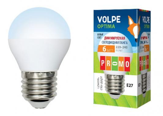 Лампа светодиодная шар Volpe 10703 E27 6W 3000K LED-G45-6W/NW/E27/FR/DIM/O