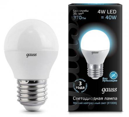 Купить Лампа светодиодная шар Gauss E27 4W 4100K EB105102204