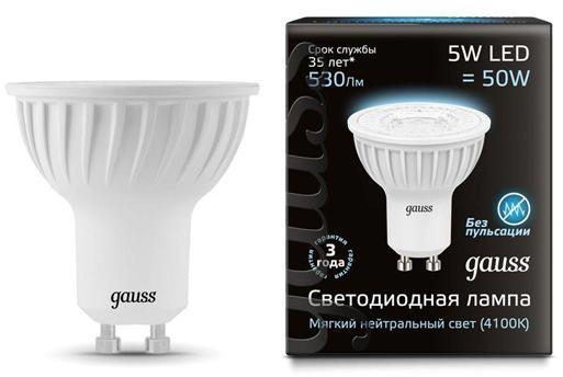 Лампа светодиодная полусфера Gauss GU10 5W 4100K 101506205 goodeck лампа светодиодная goodeck рефлекторная матовая gu10 5 5w 4100k gl1007024206