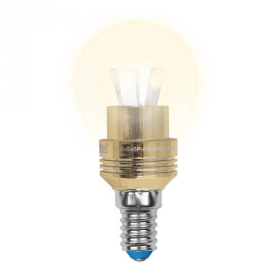 Лампа светодиодная шар Uniel Crystal Gold E14 5W 3000K LED-G45P-5W/WW/E14/FR ALC02GD