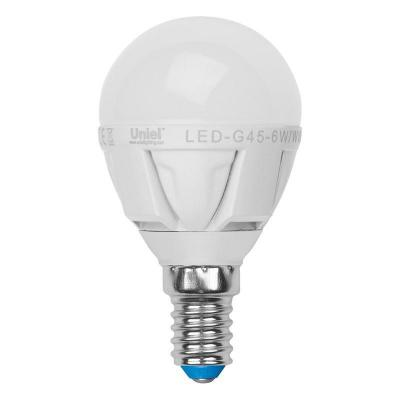Лампа светодиодная шар Uniel Palazzo E14 6W 3000K LED-G45-6W/WW/E14/FR ALP01WH лампа светодиодная диммируемая 08694 e14 6w 4500k шар матовый led g45 6w nw e14 fr dim