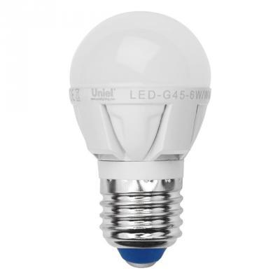 Лампа светодиодная шар Uniel Palazzo E27 7W 3000K LED-G45-7W/WW/E27/FR PLP01WH