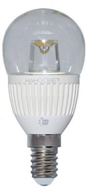 Лампа светодиодная шар Наносвет L125 E14 5W 4000K LC-P45CL-5/E14/840 лампа светодиодная груша наносвет e27 7 5w 4000k lc p45cl 7 5 e27 840 l211