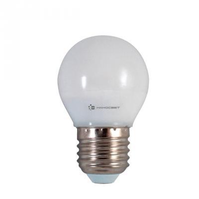 Лампа светодиодная шар Наносвет E27 6.5W 4000K LE-P45-6.5/E27/840 L133 лампа светодиодная груша наносвет e27 7 5w 4000k lc p45cl 7 5 e27 840 l211