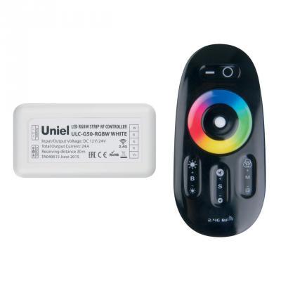 Контроллер для светодиодных лент 12/24В с пультом ДУ 2,4 ГГц (11107) Uniel ULC-G50-RGBW Black контроллер для светодиодных лент 12 24в 2 4 ггц 11105 uniel ulc g10 rgb black
