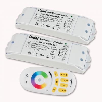 Контроллер для светодиодных лент 12/24В с пультом ДУ 2,4 ГГц (11108) Uniel ULC-M50-RGBWx2 White контроллер для светодиодных лент 12 24в 2 4 ггц 11105 uniel ulc g10 rgb black