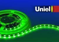 Светодиодная лента Uniel (04936) 5M зеленый 72W ULS-5050-60LED/m-10mm-IP33-DC12V-14,4W/m-5M-GREEN светодиодная лента uniel 04875 5m зеленый 72w uls 5050 60led m 10mm ip65 dc12v 14 4w m 5m green