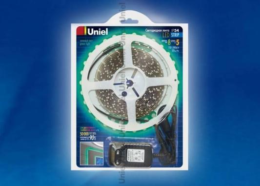 Купить Светодиодная лента Unie (04695) Готовые решения 5M зеленый 24W ULS-3528-60LED/m-8mm-IP54-DC12V-GREEN, Uniel