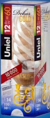 Лампа энергосберегающая свеча Uniel (03859) E14 12W Gold свеча витая золотая E14 12W 2700K ESL-C21-T12/GOLD/E14