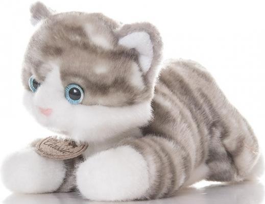Мягкая игрушка Aurora Котик искусственный мех серый 22 см 22-302