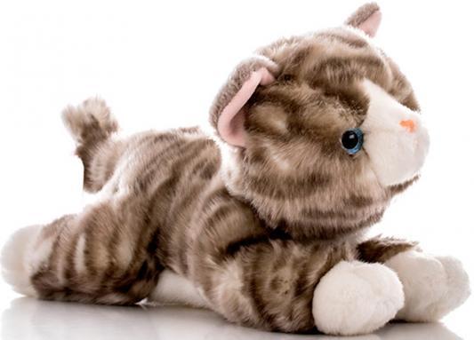 Мягкая игрушка Aurora Котенок искусственный мех серый 28 см