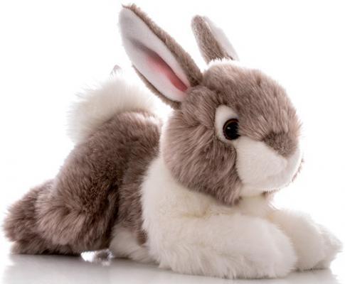 Мягкая игрушка Aurora Кролик искусственный мех серый 28 см