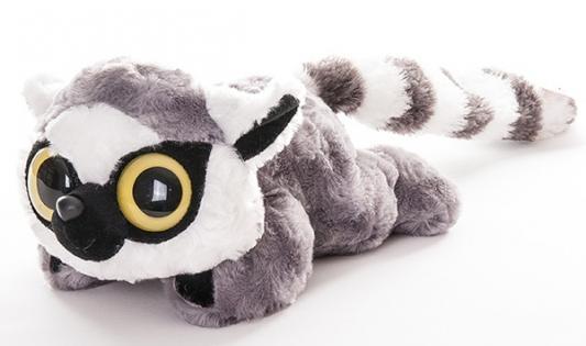 Мягкая игрушка Aurora Юху и друзья Лемур Лемми плюш синтепон белый серый 16 см лежачий